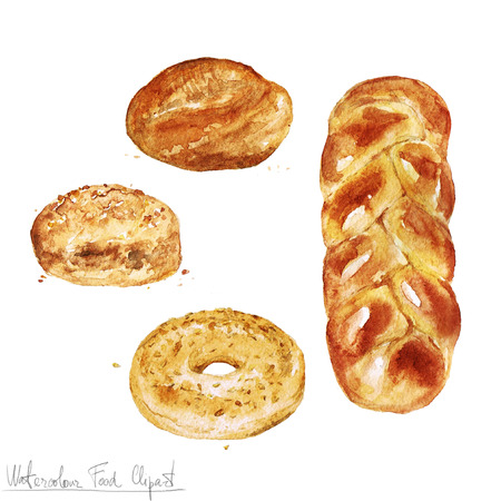 Watercolor Food Clipart - Baking. Isolated Stock Photo