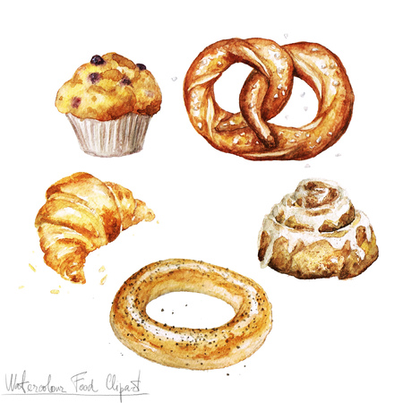 homemade bread: Watercolor Food Clipart - Baking. Isolated Stock Photo