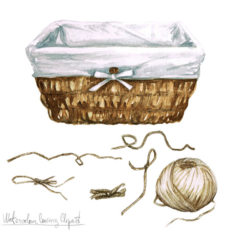 Watercolor Cooking Clipart - Basket and Roll of twin