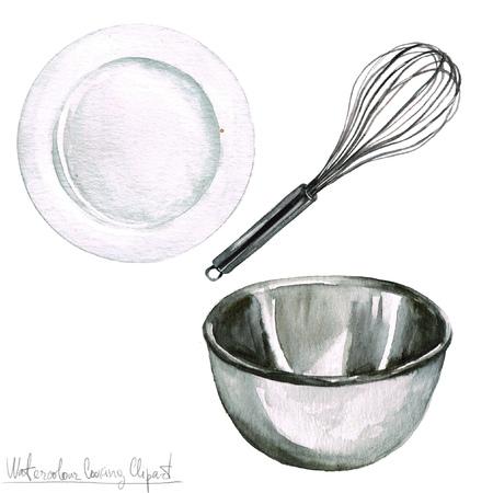 Watercolor Cooking Clipart - Keukengerei