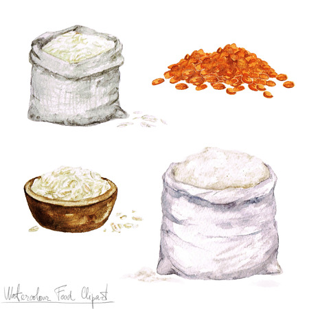 carbohydrates: Watercolor Cooking Clipart - Flour and Cereal