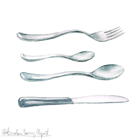 Watercolor Cooking Clipart - Cutlery