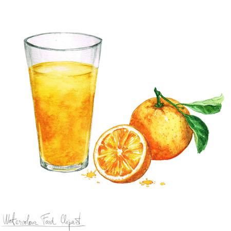 Watercolor Food Clipart - Orange juice