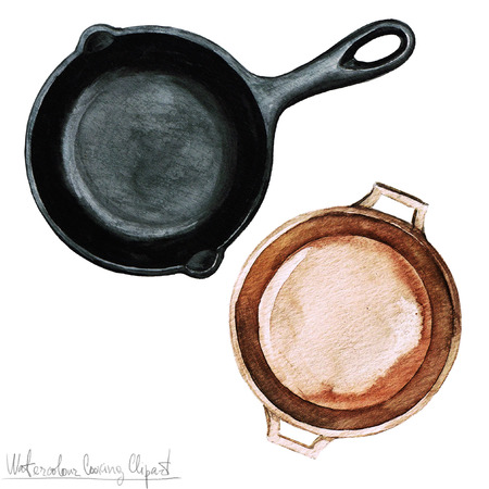 cooking utensil: Watercolor Cooking Clipart - Pots and Pans