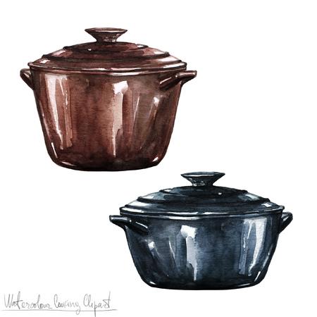Cocinar la acuarela Ilustraciones - Ollas y sartenes