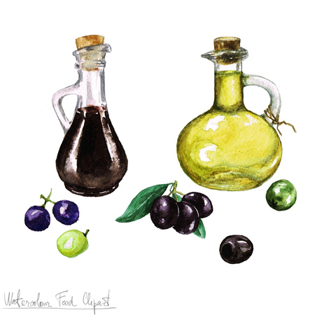 Watercolor Food Clipart -  Olive oil and Vinegar