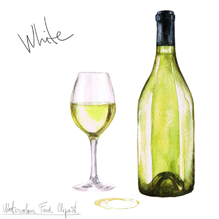 illustration food: Watercolor Food Clipart - Wine