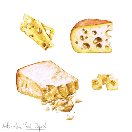 dairy products: Watercolor Food Clipart - Dairy Products and Cheese