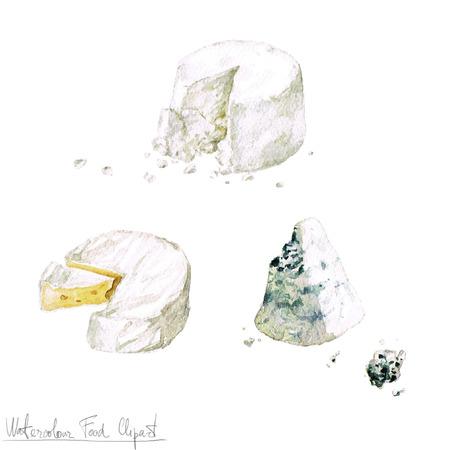 Waterverf het voedsel clipart - Zuivel en Kaas