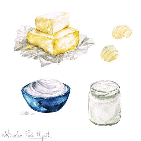 yogurt: Acuarela Alimentos clipart - Productos de leche y queso Foto de archivo