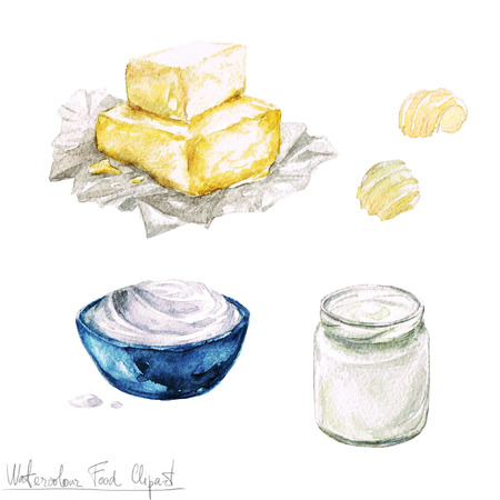white cream: Watercolor Food Clipart - Dairy Products and Cheese