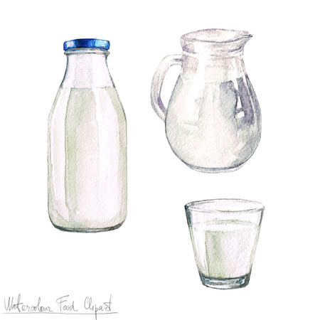 jugs: Watercolor Food Clipart - Dairy Products and Cheese