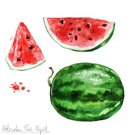 Waterverf het voedsel clipart - Watermelon Stockfoto - 52896720