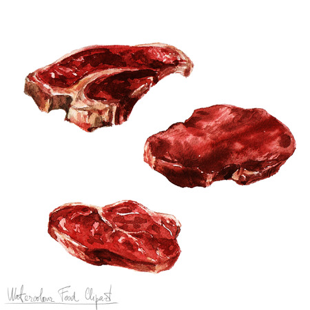 chef illustration: Watercolor Food Clipart - Meat