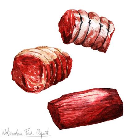水彩食べ物クリップアート - 肉 写真素材