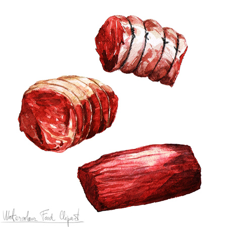 meat food: Watercolor Food Clipart - Meat
