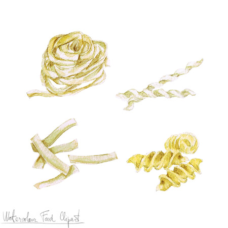 Watercolor Food Clipart - Pasta