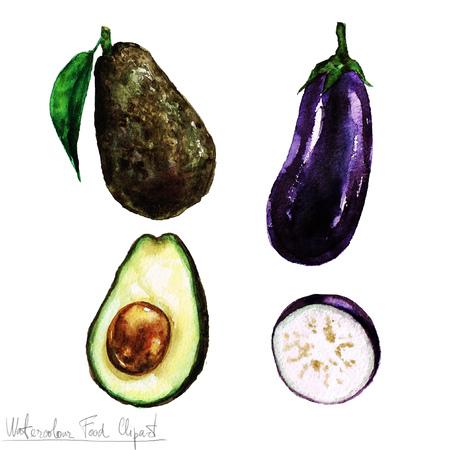 vegan food: Watercolor Food Clipart - Eggplant and Avocado