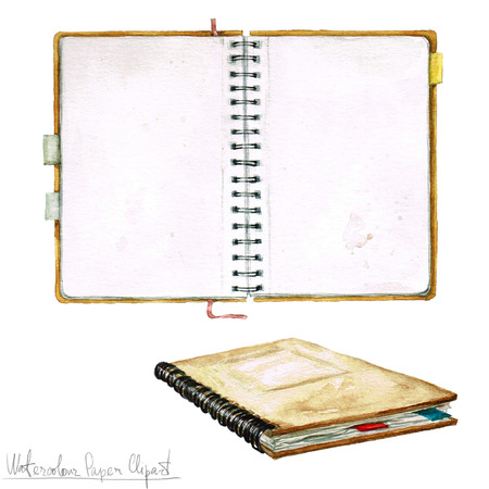 open notebook: Watercolor Paper Clipart - Open Notebook Stock Photo