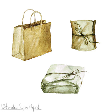 Watercolor Paper Clipart - Packages and Wrappings