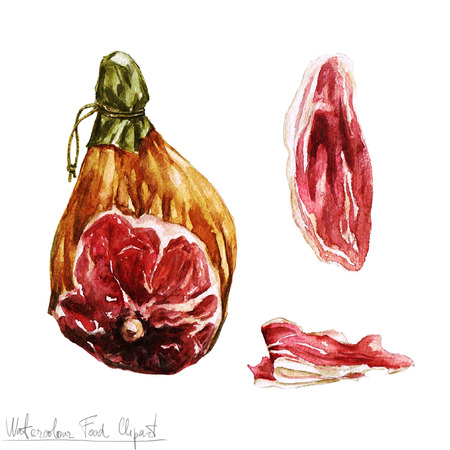 smoked: Watercolor Food Clipart - Prosciutto Stock Photo
