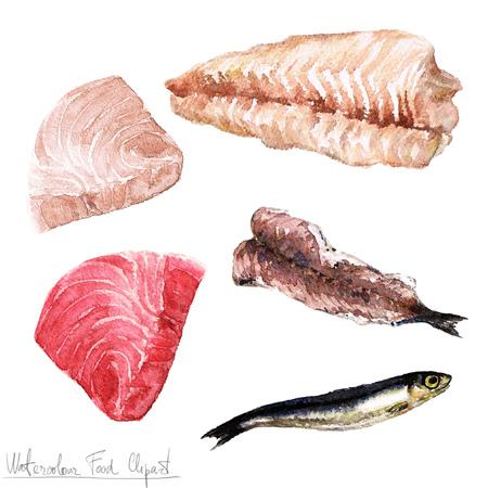 fish fillet: Watercolor Food Clipart - Fish fillet