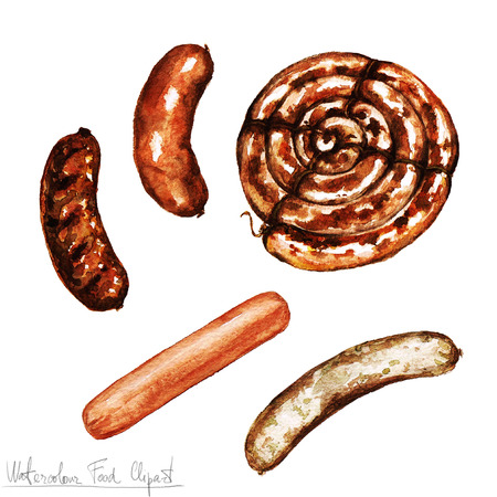 Watercolor Food Clipart - Sausages