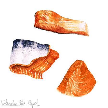 Watercolor Food Clipart - Salmon fillet 스톡 콘텐츠
