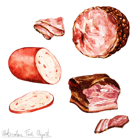 bacon fat: Watercolor Food Clipart - Bologna, Ham, Bacon