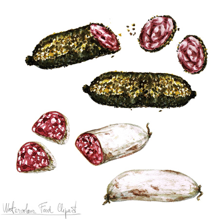 italian chef: Watercolor Food Clipart - Salami