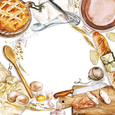 home cooking: Watercolor background with space for text - Cooking Bread