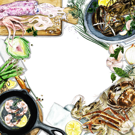 variety: Watercolor background with space for text - Cooking Seafood