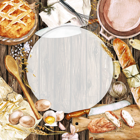 cafe food: Watercolor background with space for text - Cooking Bread