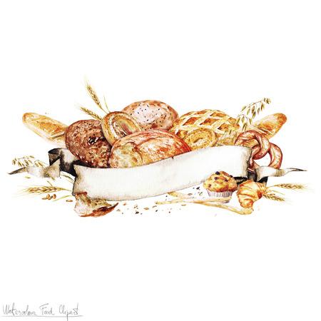 水彩リボン - 調理パン 写真素材