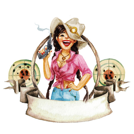 girl illustration: Rodeo watercolor label with space for text
