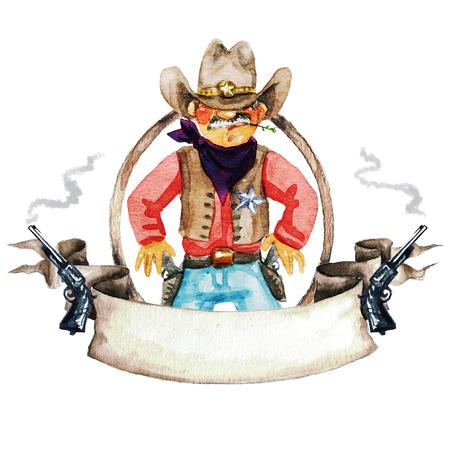 rodeo americano: Rodeo etiqueta de la acuarela con el espacio para el texto