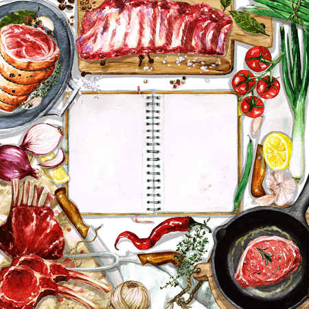 raw: Watercolor background with space for text - Cooking Meat