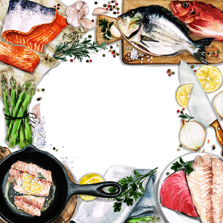 fillet: Watercolor background with space for text - Cooking Fish