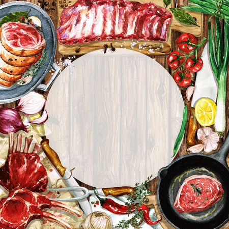 barbecue ribs: Watercolor background with space for text - Cooking Meat