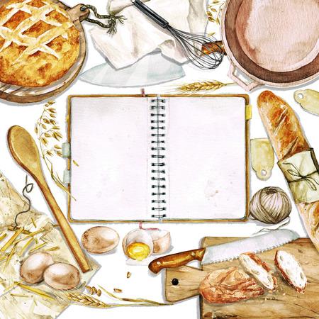 텍스트에 대 한 공간을 가진 수채화 배경 - 빵 요리
