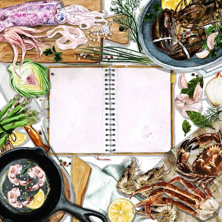 cutting board: Watercolor background with space for text - Cooking Seafood