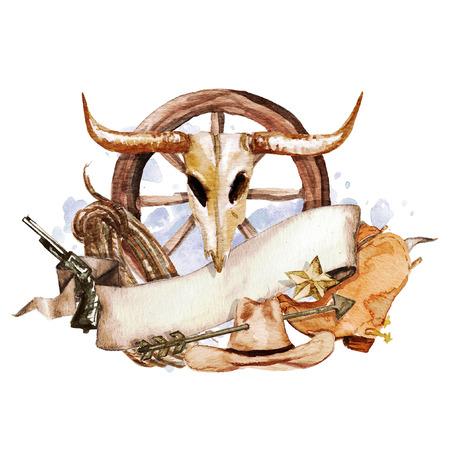 Wild-West-Aquarell-Label mit Platz für Text