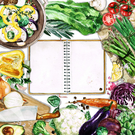 veggies: Watercolor background with space for text - Cooking Vegetables