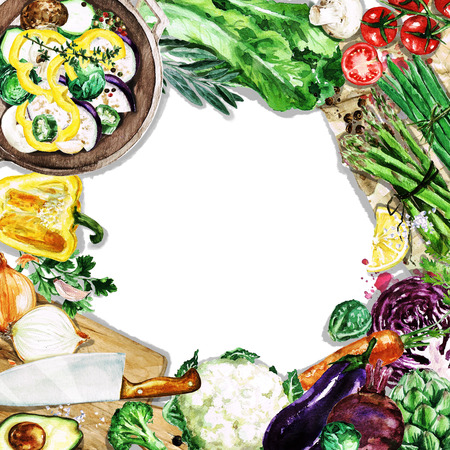 Watercolor background with space for text - Cooking Vegetables