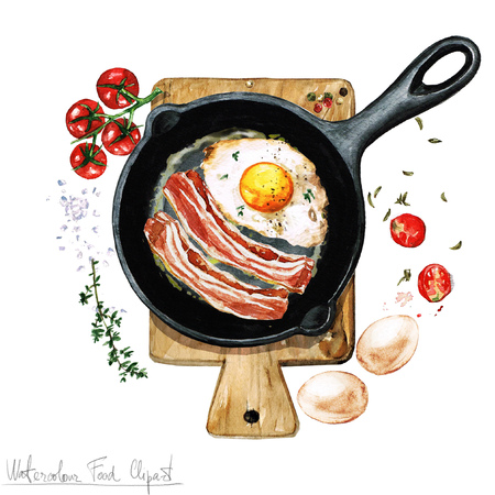 gourmet illustration: Watercolor Food Clipart - Egg and bacon on a frying pan
