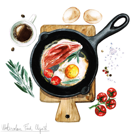 delicacy: Watercolor Food Clipart - Egg and bacon on a frying pan