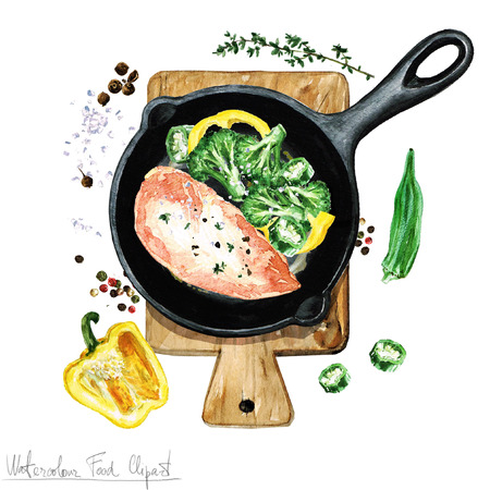 Watercolor Food Clipart - Chicken breast on a frying pan Stock Photo