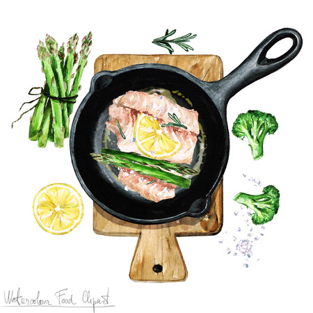 Watercolor Food Clipart - Fish on a frying pan Stock Photo