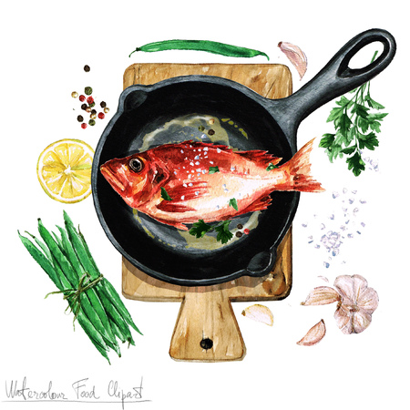 Watercolor Food Clipart - Fish on a frying pan Foto de archivo