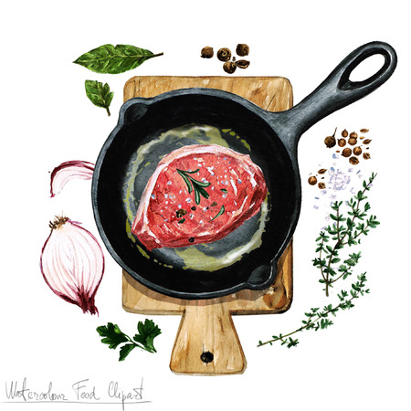 pork chop: Watercolor Food Clipart - Pork chop on a frying pan